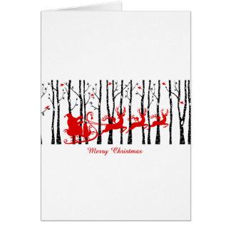 Santa in birch tree forest card