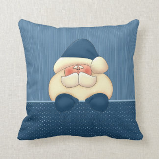 Santa in Blue and Winter White Christmas Cushion