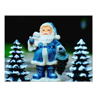 Santa in Blue Photo Print