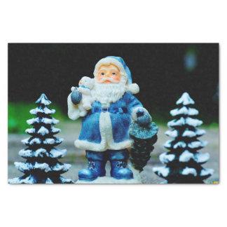 Santa in Blue Tissue Paper