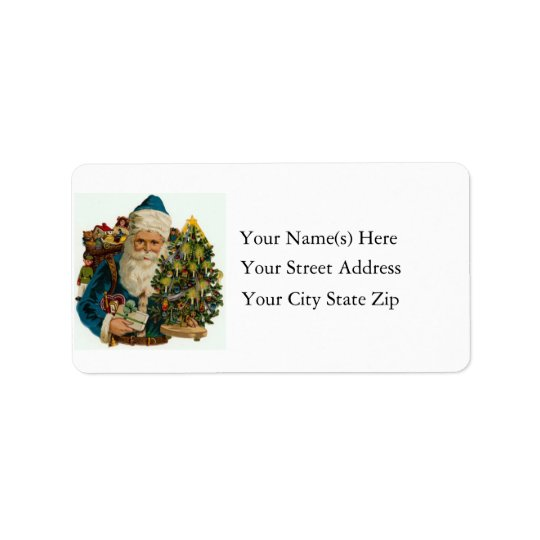 Santa in Blue Vintage Address Label