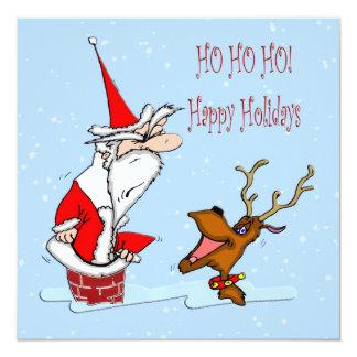 Santa in Chimney Christmas Invitation