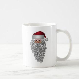 Santa in Curly Beard Christmas Coffee Mug