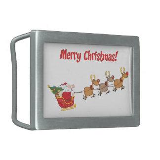 Santa in his Sleigh Rectangular Belt Buckles