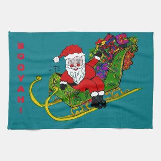Santa in his Sleigh on Kitchen Towel