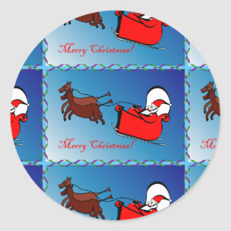Santa in his Sleigh Stickers