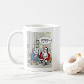Santa In Jail right hand cartoon mug