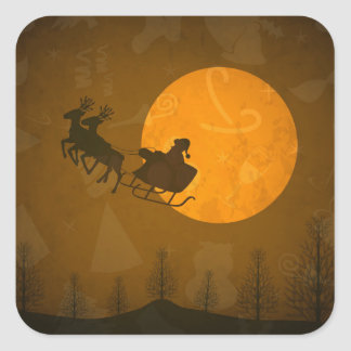Santa in Moonlight Stickers