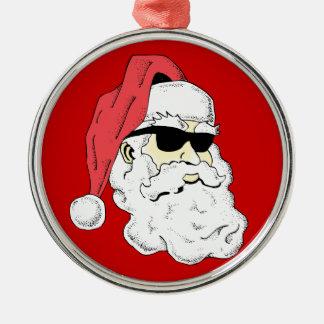 Santa in Shades Silver-Colored Round Decoration