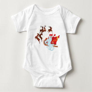 Santa in Sleigh Baby Bodysuit