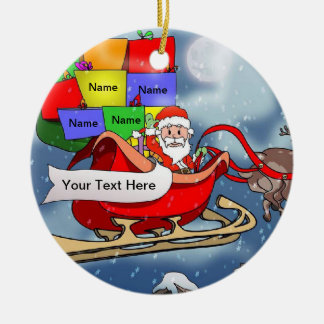 Santa in Sleigh Ceramic Ornament