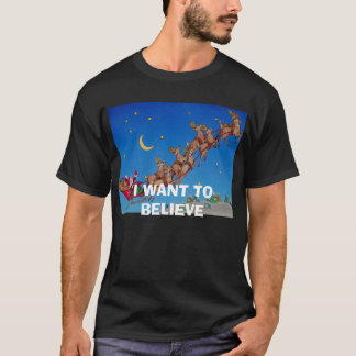 Santa-In-Sleigh, I WANT TO BELIEVE T-Shirt