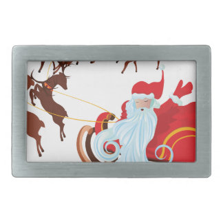 Santa in Sleigh Rectangular Belt Buckles