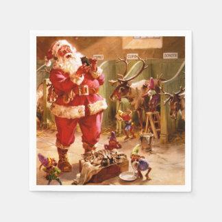 Santa in the Reindeer Barn Disposable Napkin