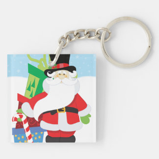 santa in tophat by  stack of presentts key ring