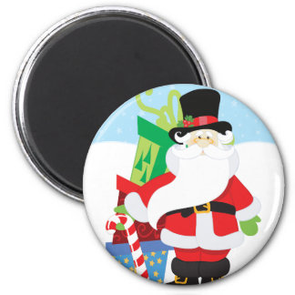 santa in tophat by  stack of presentts magnet