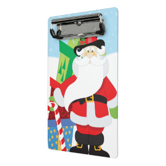 santa in tophat by  stack of presentts mini clipboard