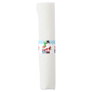 santa in tophat by  stack of presentts napkin band