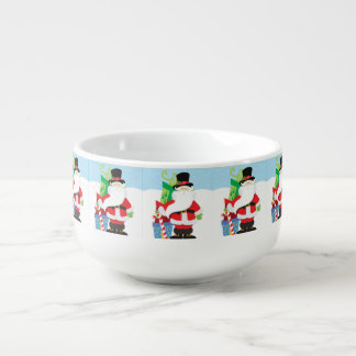 santa in tophat by  stack of presentts soup mug