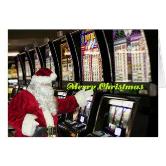 Santa in Vegas playing slots Christmas Card