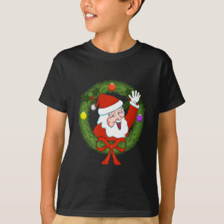 Santa in Wreath Boys T-Shirt