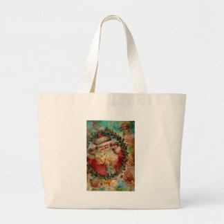 SANTA IS BUSY AT THE NORTH POLE LARGE TOTE BAG