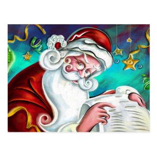 Santa Is Checking His List Postcard
