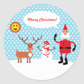 Santa, it's cold outside! classic round sticker