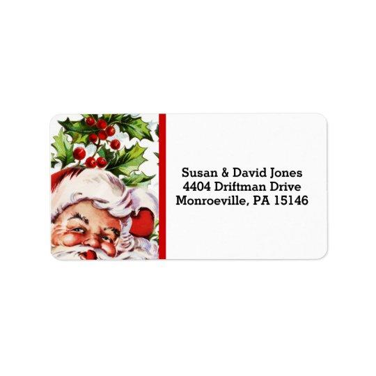 Santa jolly holly mistletoe vintage address label
