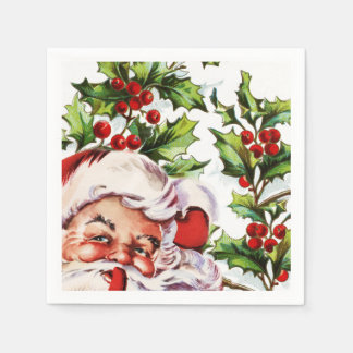 Santa jolly holly mistletoe vintage disposable serviette