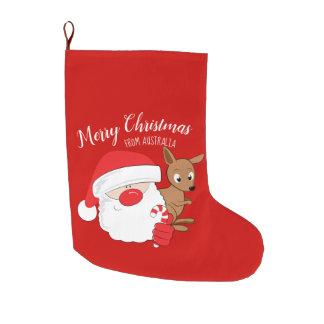 Santa & Kangaroo Large Christmas Stocking