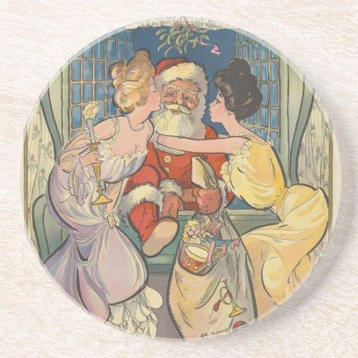 Santa Kisses Vintage Christmas Coasters