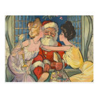 Santa Kisses Vintage Christmas Postcard