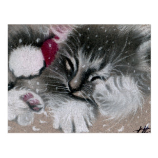 Santa Kitty Cat Postcard