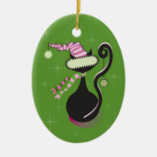 Santa Kitty Green Ornament