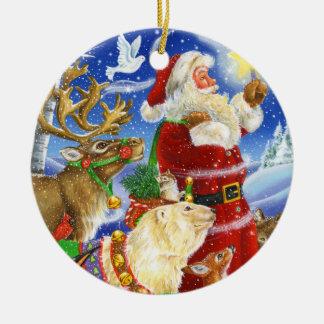 Santa Lights the Way Ceramic Ornament