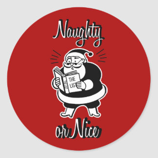 Santa List Naughty or Nice Christmas Round Sticker