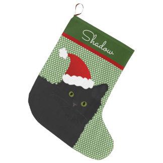 Santa Long Hair Black Cat Green Eyes Large Christmas Stocking