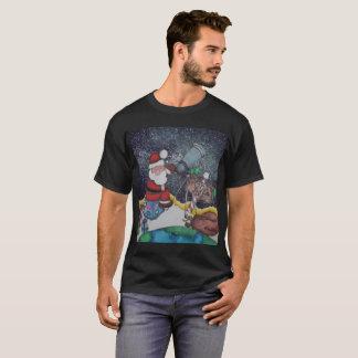 Santa Looking at the Milky Way T-Shirt