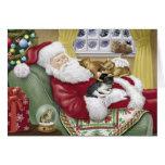 Santa Loves Cats Christmas Card