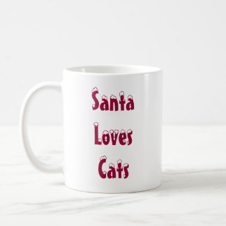 Santa Loves Cats Mug
