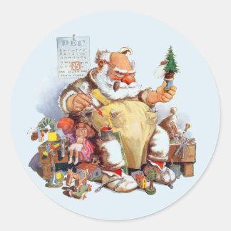 Santa Making Toys Stickers