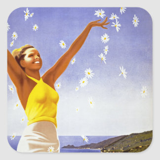 Santa Margherita Ligure with Daisies Square Sticker