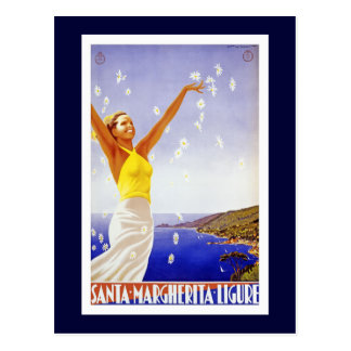 """Santa Margherita, Liguria Vintage Travel Poster Postcard"