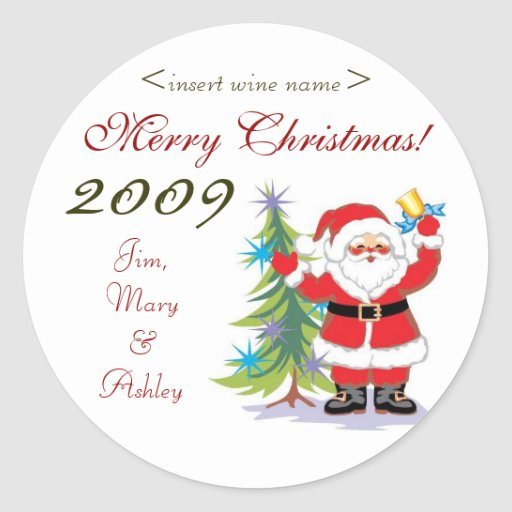 Santa Merry Christmas Personalized Wine Labels Sticker
