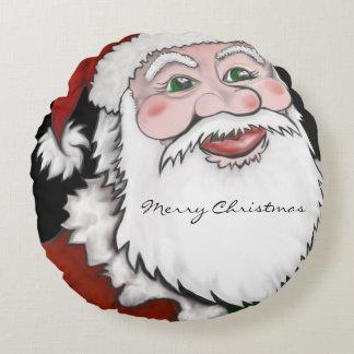 Santa Merry Christmas Round Pillow