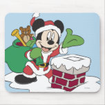 Santa Mickey Going Down Chimney Mouse Pad