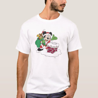 Santa Mickey Going Down Chimney T-Shirt