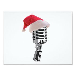santa microphone 11 cm x 14 cm invitation card