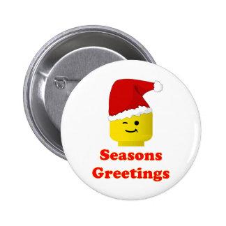 Santa Minifig Seasons Greetings Buttons
